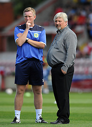 Yeovil Town's Coach Terry Skiverton and Yeovil Town's Manager Paul Sturrock- Photo mandatory by-line: Harry Trump/JMP - Mobile: 07966 386802 - 08/08/15 - SPORT - FOOTBALL - Sky Bet League Two - Exeter City v Yeovil Town - St James Park, Exeter, England.
