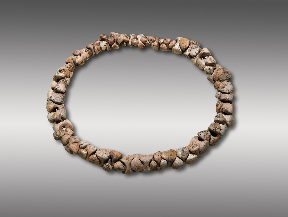 Bone necklace. Catalhoyuk Collections. Museum of Anatolian Civilisations, Ankara. Against a grey background .<br /> <br /> If you prefer you can also buy from our ALAMY PHOTO LIBRARY  Collection visit : https://www.alamy.com/portfolio/paul-williams-funkystock/prehistoric-neolithic-art.html - Type Catalhoyuk into the LOWER SEARCH WITHIN GALLERY box. Refine search by adding background colour, place, museum etc.<br /> <br /> Visit our PREHISTORIC PLACES PHOTO COLLECTIONS for more  photos to download or buy as prints https://funkystock.photoshelter.com/gallery-collection/Prehistoric-Neolithic-Sites-Art-Artefacts-Pictures-Photos/C0000tfxw63zrUT4