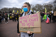 Kill the Bill demonstration in Central London against the proposed Police, Crime, Sentencing and Courts Bill on the 3rd April 2021, London, United Kingdom. Thousands turned out in London and across the UK to show their objection to the Governments proposed bill. The march went from Hyde Park to Parliament Sqaure where there was speeches.  Many fear the bill is meant to suppress acts of protesting and demonstrations. The police will be given greater powers to prevent and stop actions of civil disobedience and peaceful protests and many see this as a suppression of their civil liberties. Sentencing for acts of peaceful protest is also likely to be much harsher and that may also act as a deterrent to protest.