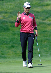 April 29, 2018 - San Francisco, CA, U.S. - SAN FRANCISCO, CA - APRIL 29: Minjee Lee of Australia acknowledges the crowd after birding the seventh hole during the final round of the Mediheal Championship on April 29, 2018 at Lake Merced Golf Club in San Francisco,CA (Photo by Samuel Stringer/Icon Sportswire) (Credit Image: © Samuel Stringer/Icon SMI via ZUMA Press)