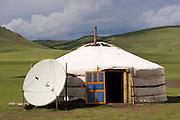 TV Satellite dish antenna, at a Ger, Mongolia