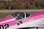 "Arkansas, AR, USA, Airpower Arkansas 2006 was held at the Little Rock Air Force base November 2006 participation of the Air Force, Navy, National Guard and civilian aerobatics aviators. Mike Rinker Sukhoi SU-26M ""Pink Floyd"" aerobatic plane"
