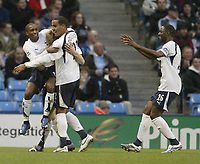 Photo: Aidan Ellis.<br /> Manchester City v Tottenham Hotspur. The Barclays Premiership. 17/12/2006.<br /> Spurs Calum Davenport is mobbed by Jermain Defoe and Tom Huddlestone after scoring the first goal