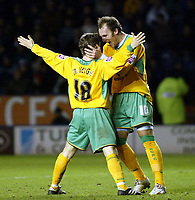 Photo: Chris Ratcliffe.<br />Leicester City v Norwich City. Coca Cola Championship. 31/12/2005. <br />Dean Ashton (R) celebrates with Paul McVeigh after McVeigh scored.