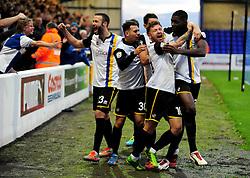 Bristol Rovers celebrate Bristol Rovers' Nathan Blissett  (R) goal - Photo mandatory by-line: Neil Brookman/JMP - Mobile: 07966 386802 - 22/11/2014 - Sport - Football - Chester - Deva Stadium - Chester v Bristol Rovers - Vanarama Football Conference