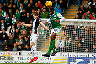 Efe Ambrose of Hibernian FC wins a header during the Ladbrokes Scottish Premiership match between St Mirren and Hibernian at the Simple Digital Arena, Paisley, Scotland on 29th September 2018.