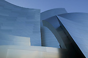 Abstract view created by the sharp angles and sweeping contours of the Walt Disney Concert Hall with blue sky above, 135 North Grand Ave, Los Angeles, CA 90012, Part of Music Center, Performing Arts Center of Los Angeles County, California...Subject photograph(s) are copyright Edward McCain. All rights are reserved except those specifically granted by Edward McCain in writing prior to publication...McCain Photography.211 S 4th Avenue.Tucson, AZ 85701-2103.(520) 623-1998.mobile: (520) 990-0999.fax: (520) 623-1190.http://www.mccainphoto.com.edward@mccainphoto.com.