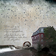 A waterfall flowing to the water wheel and a distorted, bulging, and swayed three story grist mill, straddling the stream. Bats swarm above the seemingly still scene.