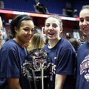 From left to right, Courtney Ekmark, Napheesa Collier  Katie Lou Samuelson and Natalie Butler, UConn with the trophy after winning the UConn Huskies Vs USF Bulls 2016 American Athletic Conference Championships Final. Mohegan Sun Arena, Uncasville, Connecticut, USA. 7th March 2016. Photo Tim Clayton