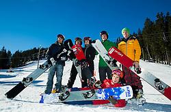 Rok Flander, Jure Hafner, Gloria Kotnik, Jernej Demsar, Rok Marguc and Zan Kosir during training of Snowboarding Team Slovenia prior to the 2015 FIS Freestyle Ski and Snowboard World Championships in Kreischberg (AUT) on January 13, 2015 in Rogla, Slovenia. Photo by Vid Ponikvar / Sportida