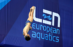 Switzerland's Jonathan Suckow during the Men's 1m Springboard Preliminary during day six of the 2018 European Championships at Scotstoun Sports Campus, Glasgow. PRESS ASSOCIATION Photo. Picture date: Tuesday August 7, 2018. See PA story DIVING European. Photo credit should read: Ian Rutherford/PA Wire. RESTRICTIONS: Editorial use only, no commercial use without prior permission