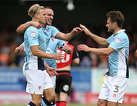 Blackpool's Brad Potts celebrates scoring the opening goal with team-mate Andy Taylor (right)<br /> <br /> Photographer Stephen White/CameraSport<br /> <br /> Football - The EFL Sky Bet League Two - Morecambe v Blackpool - Saturday 13th August 2016 - Globe arena - Morecambe<br /> <br /> World Copyright © 2016 CameraSport. All rights reserved. 43 Linden Ave. Countesthorpe. Leicester. England. LE8 5PG - Tel: +44 (0) 116 277 4147 - admin@camerasport.com - www.camerasport.com