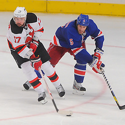 May 16, 2012: New Jersey Devils left wing Ilya Kovalchuk (17) comes away with the puck against New York Rangers defenseman Dan Girardi (5) during third period action in game 2 of the NHL Eastern Conference Finals between the New Jersey Devils and New York Rangers at Madison Square Garden in New York, N.Y. The Devils defeated the Rangers 3-2.