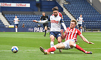 Preston North End's Sean Maguire is tackled by Stoke City's Harry Souttar<br /> <br /> Photographer Dave Howarth/CameraSport<br /> <br /> The EFL Sky Bet Championship - Preston North End v Stoke City - Saturday 26th September 2020 - Deepdale - Preston <br /> <br /> World Copyright © 2020 CameraSport. All rights reserved. 43 Linden Ave. Countesthorpe. Leicester. England. LE8 5PG - Tel: +44 (0) 116 277 4147 - admin@camerasport.com - www.camerasport.com