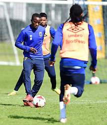 Cape Town-180823- Cape Town City player Thabo Nodada challenged by Edmilson Dove at training, preparing for their up comingMTN 8 semi-final against Sundowns at Cape Town Stadum.Photographer :Phando Jikelo/African News Agency/ANA