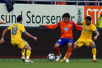 Fotball, <br /> 09.08.2012 ,<br /> 3nd qualifying round - 2nd leg,<br /> Europa league,<br /> Aalesund Fk v Apoel FC 0-1 (1-3),<br /> Colorline  stadion ,<br /> Selim Benachour - apoel fc <br /> Mario Sergio leal nogueira - apoel fc<br /> Lars Mendonca Fuhre - aalesund <br /> Foto: Richard brevik , Digitalsport