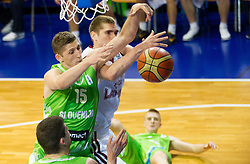 Gezim Morina of Slovenia vs Arnolds Helmanis of Latvia during basketball match between National teams of Latvia and Slovenia in Qualifying Round of U20 Men European Championship Slovenia 2012, on July 16, 2012 in Domzale, Slovenia. (Photo by Vid Ponikvar / Sportida.com)