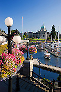 The Legislative or Parliament Buildings located on the Inner Harbour, Victoria, Vancouver Island, British Columbia, Canada.