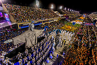 """A float featuring Rio's Christ the Redeemer statue. Carnaval parade of Unidos da Tijuca samba school in the Sambadrome, Rio de Janeiro, Brazil.        <br /> <br /> The theme of this parade is """"Where Dreams Live"""" and tells the history of architecture and urbanism. Sambadrome, Rio de Janeiro, Brazil. The Christ statue is animatronic. It moves forward and back, opening and closing its arms."""