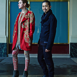 Paris, France. February 27, 2014. Fashion Designer Akira Kurosawa at the Palais Royal with Anne, a longtime friend & fitting model he works with when he's in Paris. Photo: Antoine Doyen