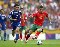 Fotball<br /> EURO 2004<br /> Portugal<br /> 12.06.2004<br /> NORWAY ONLY<br /> <br /> Hellas v Portugal<br /> <br /> Foto: Scott Heavey/Digitalsport<br /> <br /> Christiano Ronaldo (R) guides the ball away from Theodoros Zagorakis