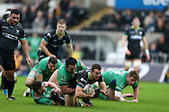 Tom Habberfield of the Ospreys © is tackled by Dennis Buckley of Connacht. Guinness Pro12 rugby match, Ospreys v Connacht rugby at the Liberty Stadium in Swansea, South Wales on Saturday 7th January 2017.<br /> pic by Andrew Orchard, Andrew Orchard sports photography.