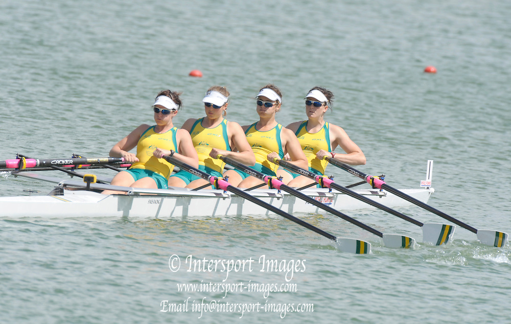 Racice CZECH REPUBLIC.  AUS BW4X,  Bow Peta EDDINGTON, Charlotte WALTERS, Alison CROWE and Georgina BAKER at the start of there Repechage,  FISA World U23 Championships,  held on the Racice Rowing Course, Friday  24/07/2009,  [Mandatory Credit Peter Spurrier/ Intersport Images]