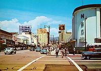 1950 Color postcard of Vine St. & Sunset Blvd.