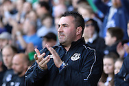 Everton Interim Manager David Unsworth looks on prior to kick off. Barclays Premier League match, Everton v Norwich City at Goodison Park in Liverpool on Sunday 15th May 2016.<br /> pic by Chris Stading, Andrew Orchard sports photography.
