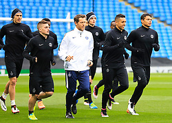PSG players warm up - Mandatory byline: Matt McNulty/JMP - 07966386802 - 11/04/2016 - FOOTBALL - Manchester City v PSG - Etihad Stadium -Manchester,England - UEFA Champions League