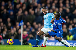 December 8, 2018 - London, Greater London, England - Raheem Sterling of Manchester City and Ngolo Kanté of Chelsea during the Premier League match between Chelsea and Manchester City at Stamford Bridge, London, England on 8 December 2018. (Credit Image: © AFP7 via ZUMA Wire)