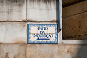 Ceramic sign at the patio da Inquisicao, Inquisition Square, Coimbra, Portugal