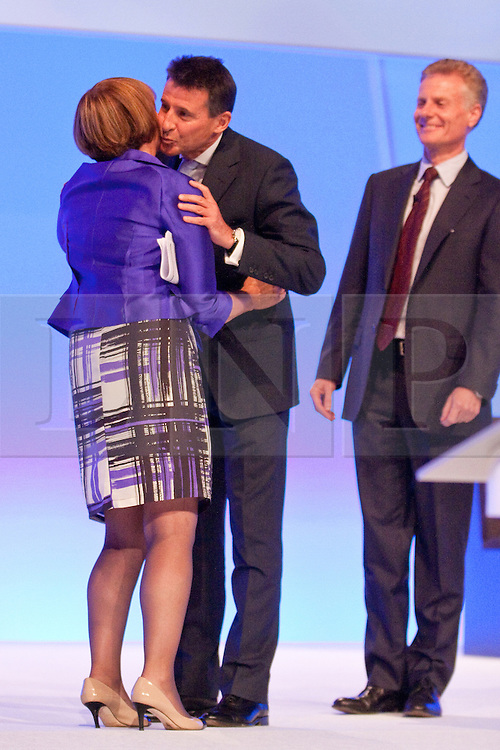 © Licensed to London News Pictures. 02/10/2012. Manchester, UK . Tessa Jowell kisses Sebastian Coe during the Team Great Britain session at the Labour Party Conference Day 3 at Manchester Central . Photo credit : Joel Goodman/LNP