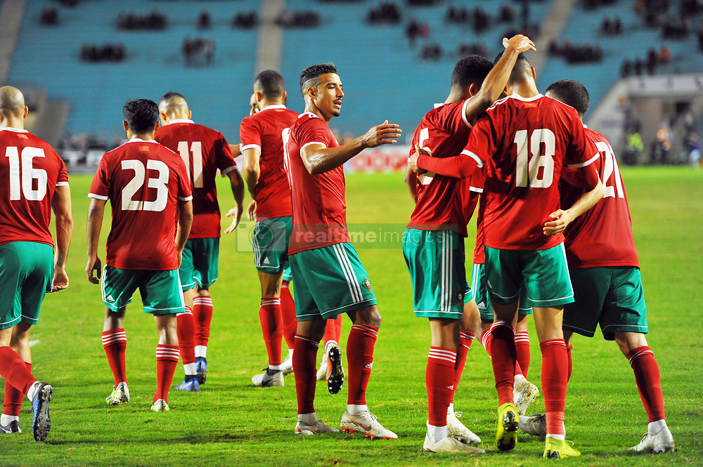 November 20, 2018 - Tunis, Tunisia - Moroccan players celebrate the unique goal of the match during friendly Match between Tunisia and Morocco already qualified for the African Continental Tournament at the Olympic Stadium in Rades. (Credit Image: © Chokri Mahjoub/ZUMA Wire)