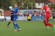AFC Wimbledon striker Joe Pigott (39) chesting the ball during the EFL Sky Bet League 1 match between AFC Wimbledon and Scunthorpe United at the Cherry Red Records Stadium, Kingston, England on 15 September 2018.