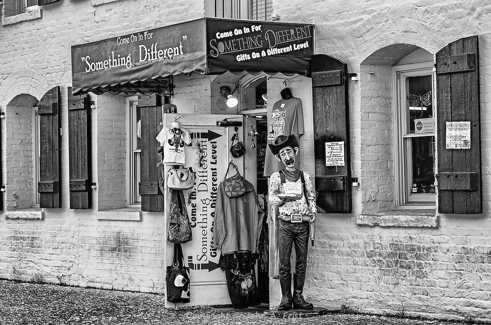 This is one of those eclectic shops one finds when walking around Savannah.  Black and white really gets to the essence.