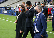 Mayor of Paris Anne Hidalgo, President of PSG Nasser Al Khelaifi, President of French Football Federation (FFF) Noel Le Graet during the trophy ceremony following the French Cup final football match between Paris Saint-Germain (PSG) and Saint-Etienne (ASSE) on Friday 24, 2020 at the Stade de France in Saint-Denis, near Paris, France - Photo Juan Soliz / ProSportsImages / DPPI