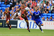 Massimo Loungo of Queens Park Rangers (c) in action.EFL Skybet championship match, Cardiff city v Queens Park Rangers at the Cardiff city stadium in Cardiff, South Wales on Sunday 14th August 2016.<br /> pic by Andrew Orchard, Andrew Orchard sports photography.