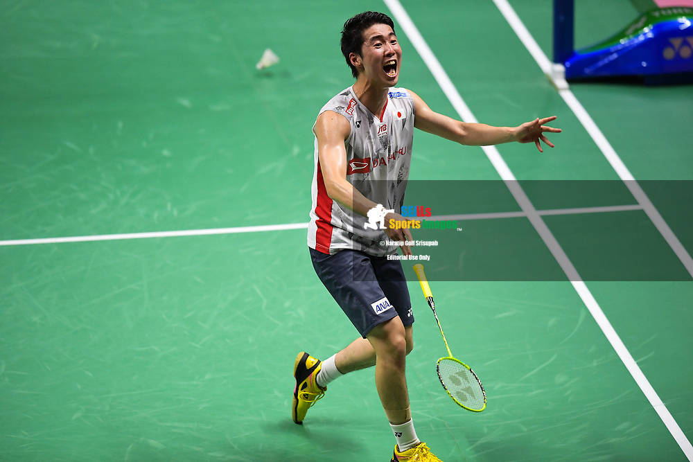 BANGKOK, THAILAND - MAY 25: Kanta Tsuneyama of Japan reaction on Court 1 after winning his Semi-Finals match against Jan O Jorgensen of Denmark at the BWF Total Thomas and Uber Cup Finals 2018, Impact Arena , Bangkok, Thailand on May 25, 2018.<br /> .<br /> .<br /> .<br /> Photo by: Naratip Golf Srisupab/SEALs Sports Images<br /> <br /> .<br /> All photo must include a credit line adjacent to the content: Naratip Golf Srisupab/SEALs Sports Images