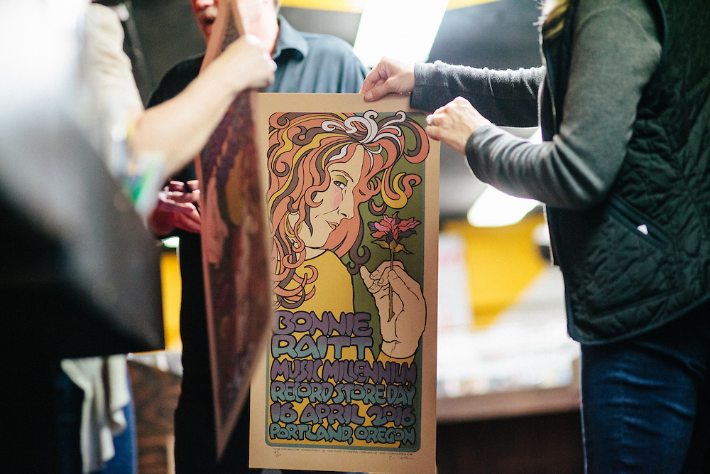 Bonnie Raitt greeted fans at Music Millennium in Portland, Oregon on April 16, 2016 (Record Store Day). Gary Houston designed a ltd. ed. hand pulled poster to commemorate the event.