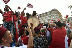 June 22, 2018 - Moscow, RUSSIA - Illustration shows fans of Tunisian national soccer team in the Moscow city center, in Russia, Friday 22 June 2018. The Red Devils play their second game against Tunisia tomorrow at the FIFA World Cup 2018...BELGA PHOTO DIRK WAEM (Credit Image: © Dirk Waem/Belga via ZUMA Press)