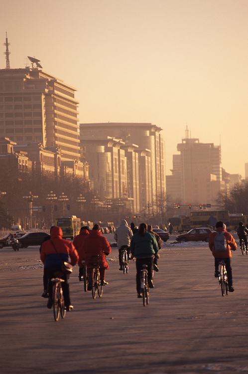 Bicycle commuters near Tiananmen Square, China, PRC