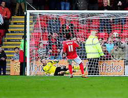 Crewe Alexandra's Bryon Moore scores a last minute penalty against Bristol City making it 1 - 0 - Photo mandatory by-line: Dougie Allward/JMP - Tel: Mobile: 07966 386802 19/10/2013 - SPORT - FOOTBALL - Alexandra Stadium - Crewe - Crewe V Bristol City - Sky Bet League One
