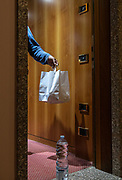 MILAN: few meters from MIilan Centra Station there is the 4 stars  Michelangelo Hotel, usually packed of tourists and business people, since two months has been transformed to host covid-19 positive patients, who has not a place where to spend their quarantine safely. the food is daily delivered in a paper bag outside the room