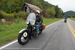 John Stanley riding his 1933 Harley-Davidson VLE during Stage 4 of the Motorcycle Cannonball Cross-Country Endurance Run, which on this day ran from Chatanooga to Clarksville, TN., USA. Monday, September 8, 2014.  Photography ©2014 Michael Lichter.