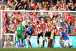 Brentford get the ball over the line to score a late equaliser - Mandatory by-line: Robbie Stephenson/JMP - 07966386802 - 08/08/2015 - SPORT - FOOTBALL - Brentford,England - Griffin Park - Brentford v Ipswich Town - Sky-Bet Championship
