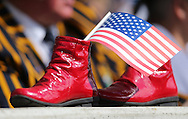 Dr Martens Airwair Boots with a stars and stripes flag during the Rugby World Cup 2015 match between Samoa and USA at the Brighton Community Stadium, Falmer, United Kingdom on 20 September 2015.