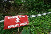 Land mine warnings, Velebit Nature Park, Rewilding Europe rewilding area, Velebit  mountains, Croatia