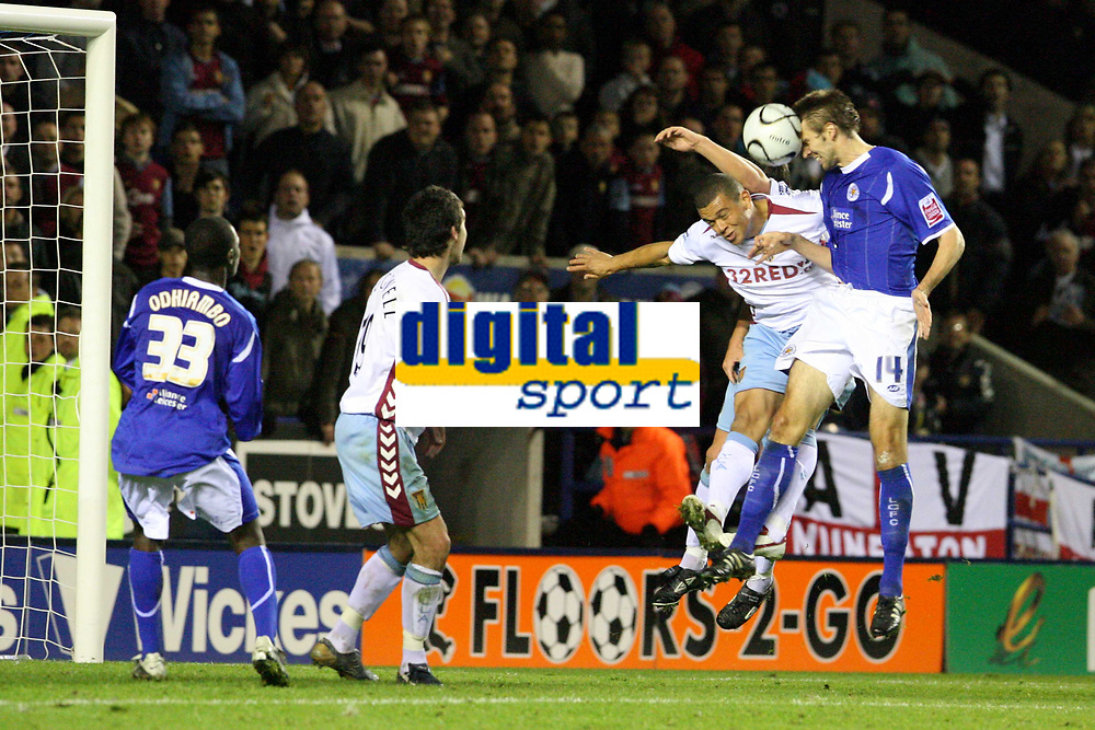Photo: Pete Lorence.<br />Leicester City v Aston Villa. Carling Cup. 24/10/2006.<br />Leicester's Gareth McAuley makes a last ditch attempt to score, but to no avail.