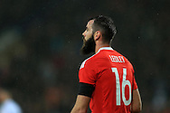 Joe Ledley of Wales looks on. .Wales v Northern Ireland, International football friendly match at the Cardiff City Stadium in Cardiff, South Wales on Thursday 24th March 2016. The teams are preparing for this summer's Euro 2016 tournament.     pic by  Andrew Orchard, Andrew Orchard sports photography.